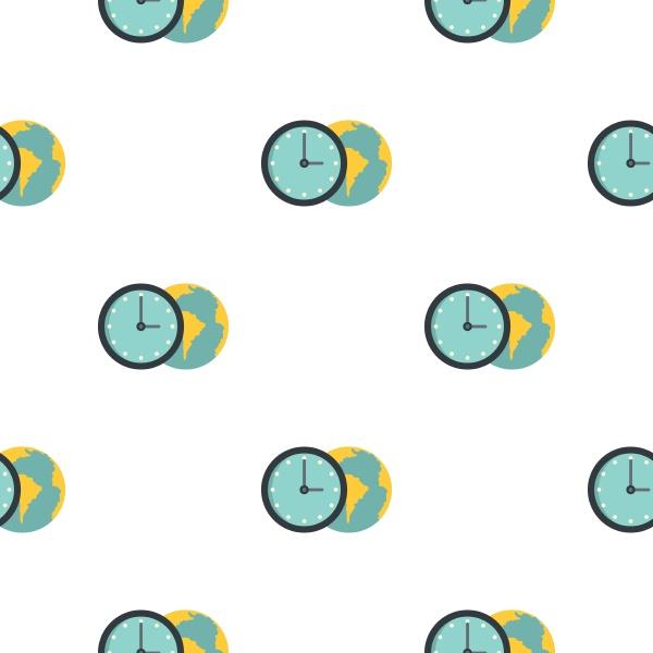 globe and clock pattern flat