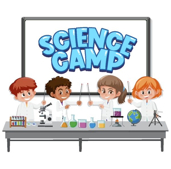 science camp logo with kids wearing