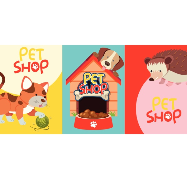 pet shop signs with many pets