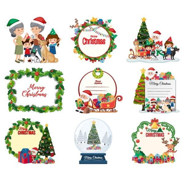 set of blank christmas postcard and