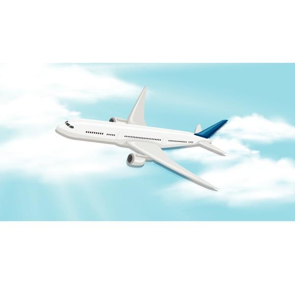 sky background with aeroplane flying