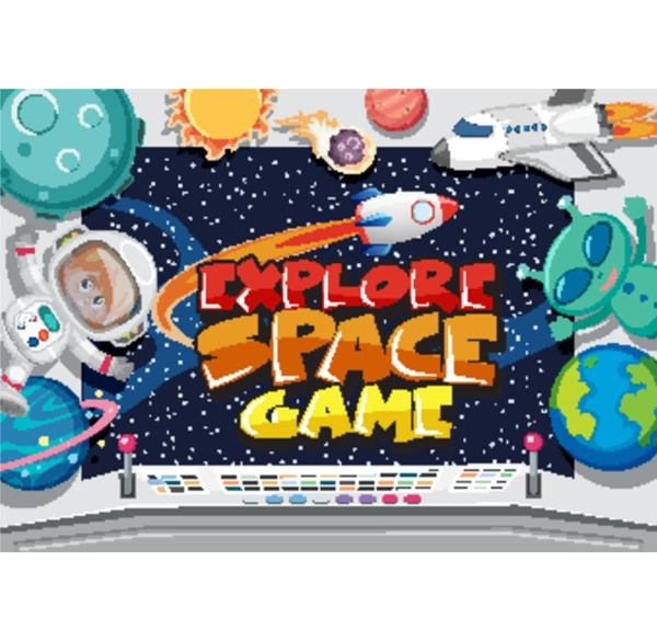 game title template design with explore