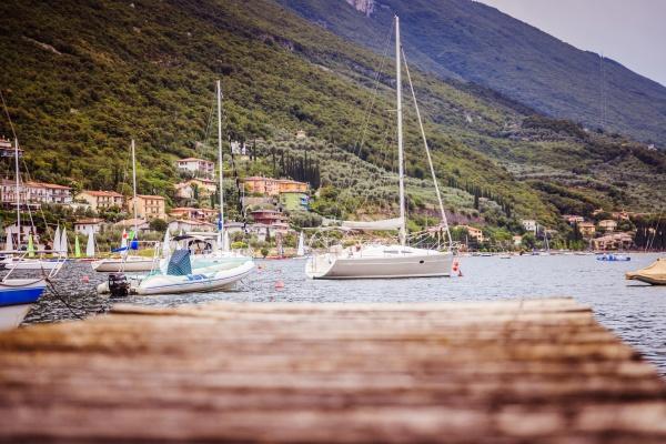 coastal landscape wooden dock pier extending