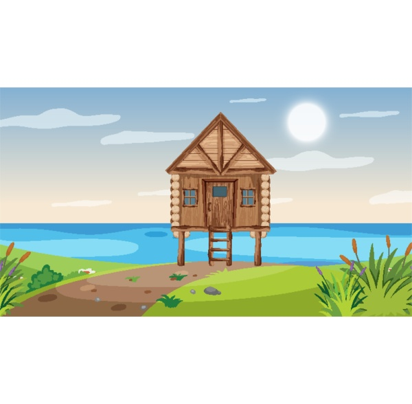 scene with wooden cottage in the