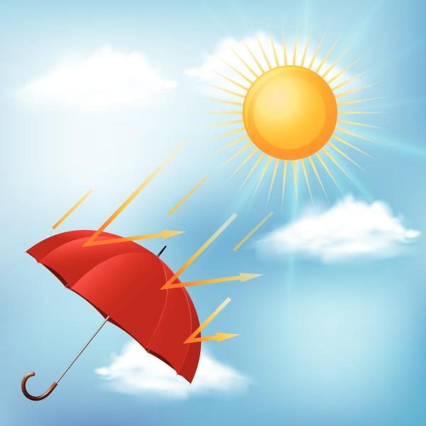 red umbrella and hot sun