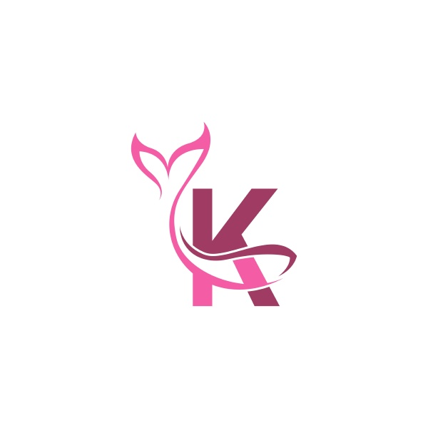 letter k with mermaid tail icon