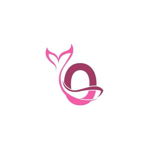 letter o with mermaid tail icon