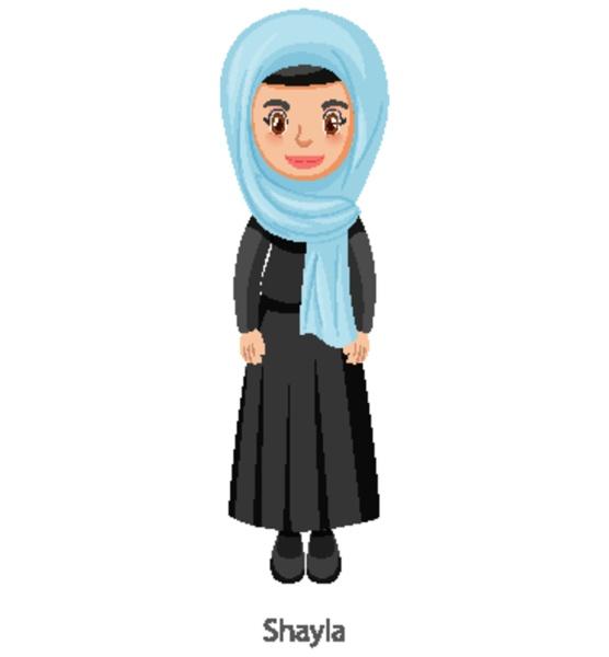 a woman wearing shayla islamic traditional