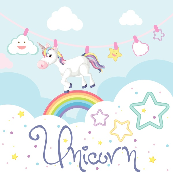 cute unicorn and stars in background