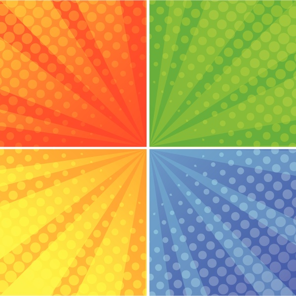 round shapes on four different background