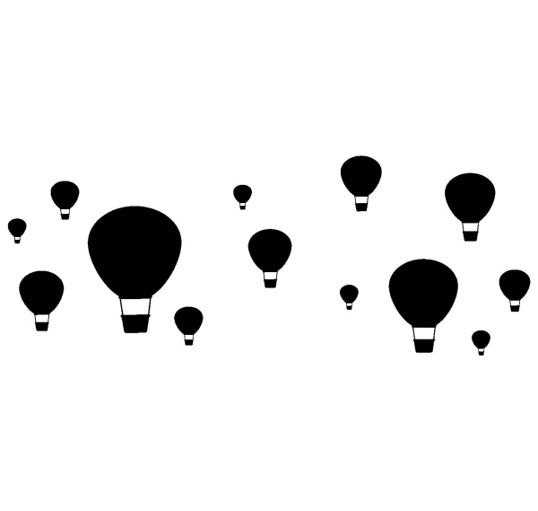 silhouette balloons flying in the sky