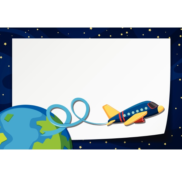 border template with airplane flying in