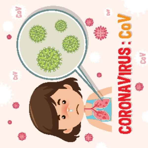 coronavirus diagram with sick girl and