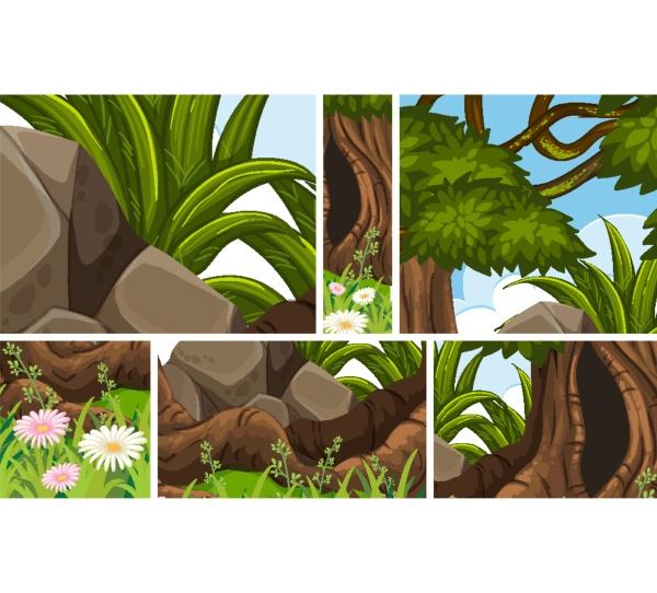 set of jungle scene