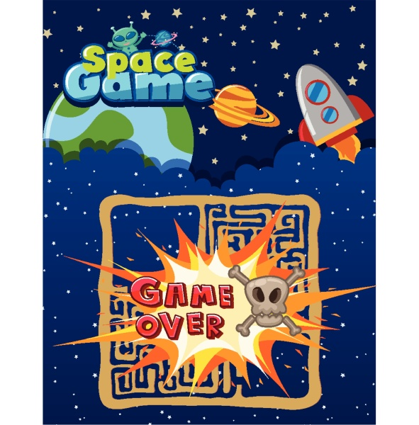 space game template with game over