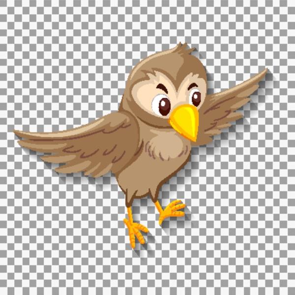 cute sparrow bird cartoon character