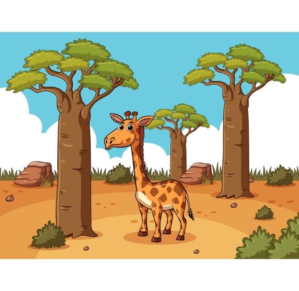giraffe in desert ground