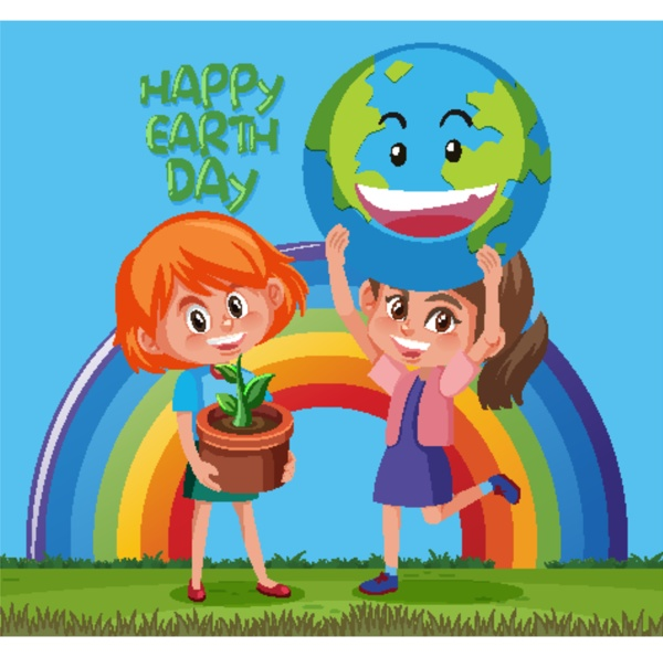 happy earth day poster design with
