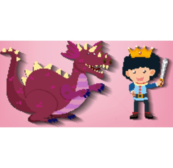 little knight and dragon cartoon character