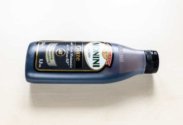 lying bottle glaze with aceto balsamico