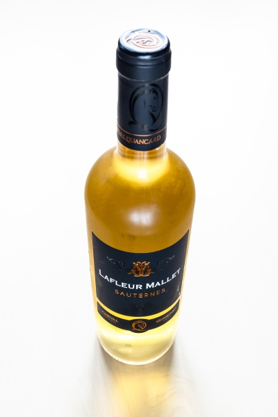 closed bottle of french sweet wine