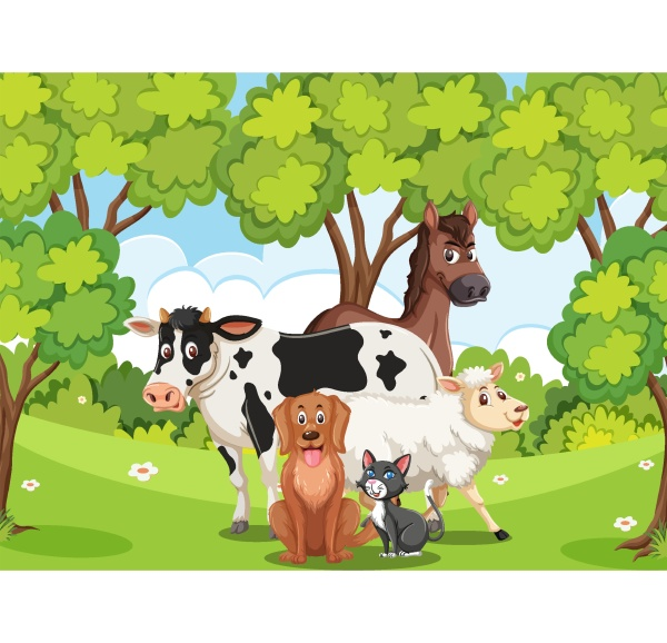scene with many wild animals in