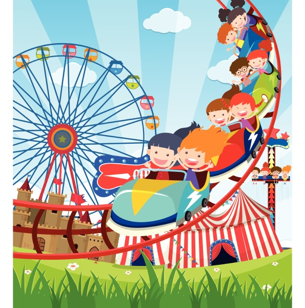 children riding roller coaster