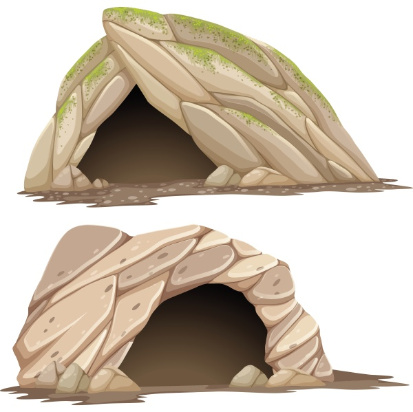 two different caves on white background