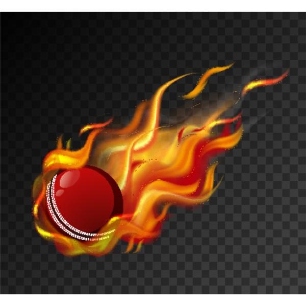 cricket ball with big flame shooting
