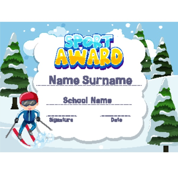 certificate template for sport award with
