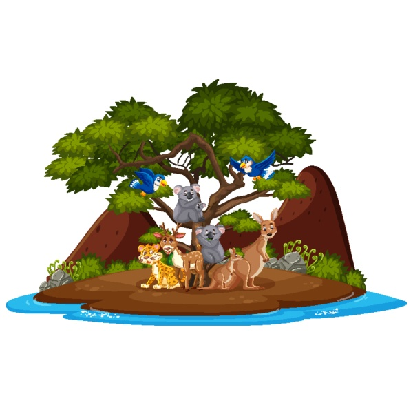 scene with wild animals on the