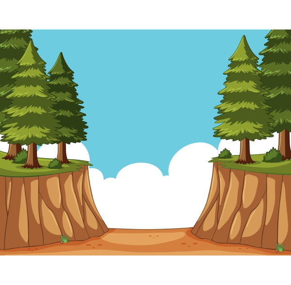 scene with pine trees on the
