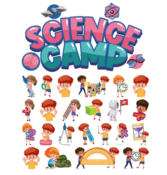 science camp logo and set of