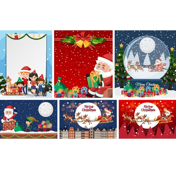 set of blank christmas postcard or
