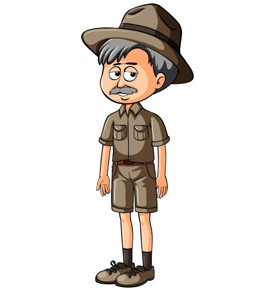 old man in safari outfit