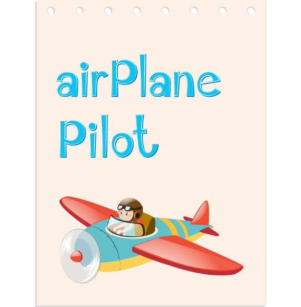flashcard with pilot and airplane