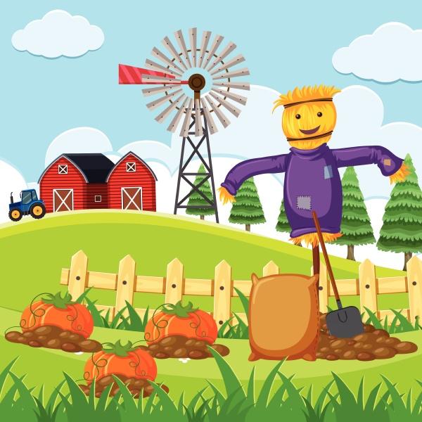 farm scene with pumpkin patch