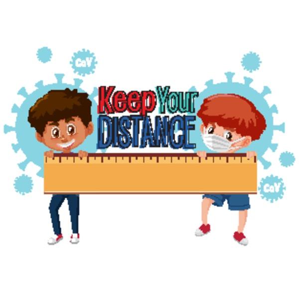 boy keep distance to avoid coronavirus