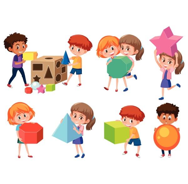 children with math shape