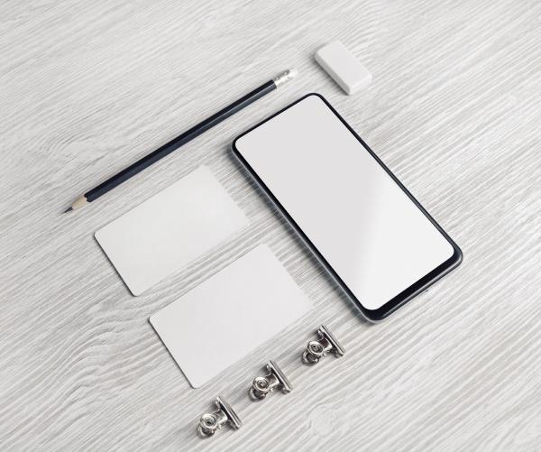 smartphone business cards pencil eraser