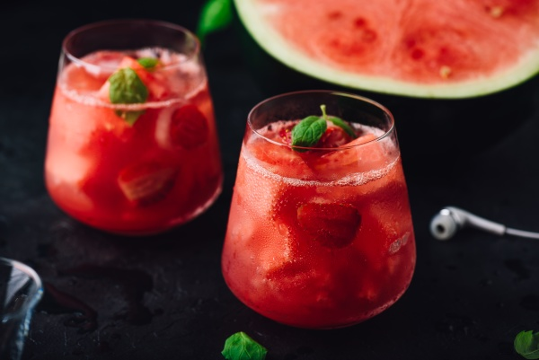 fresh cocktail with watermelon and strawberry
