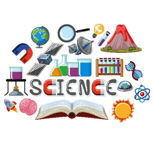 science logo with science education objects