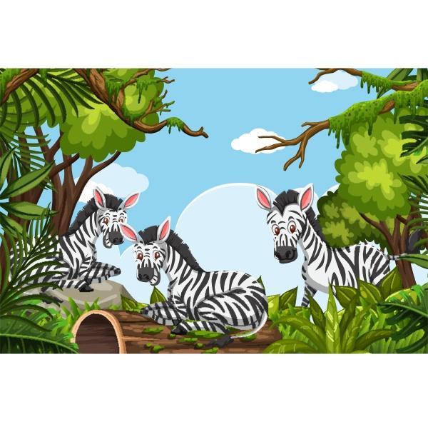 zebras in jungle scene