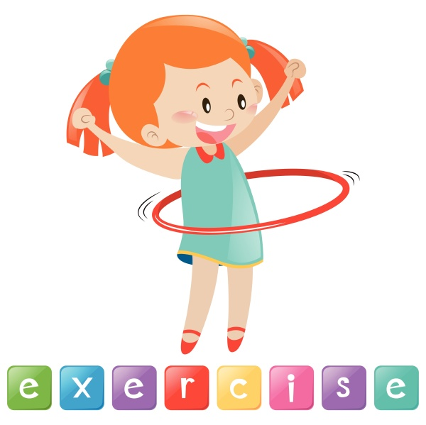 girl exercise with hulahoop