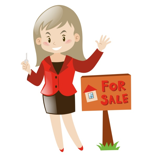 real estate agent and house for