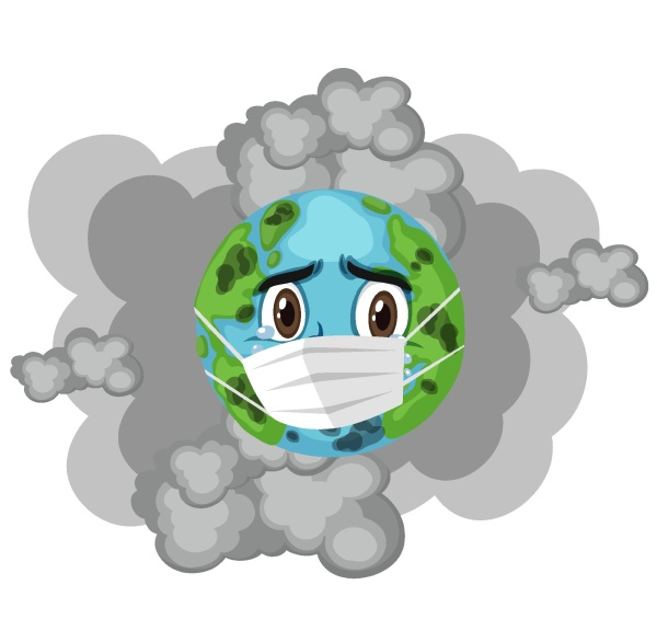 earth wearing mask with dirty smoke