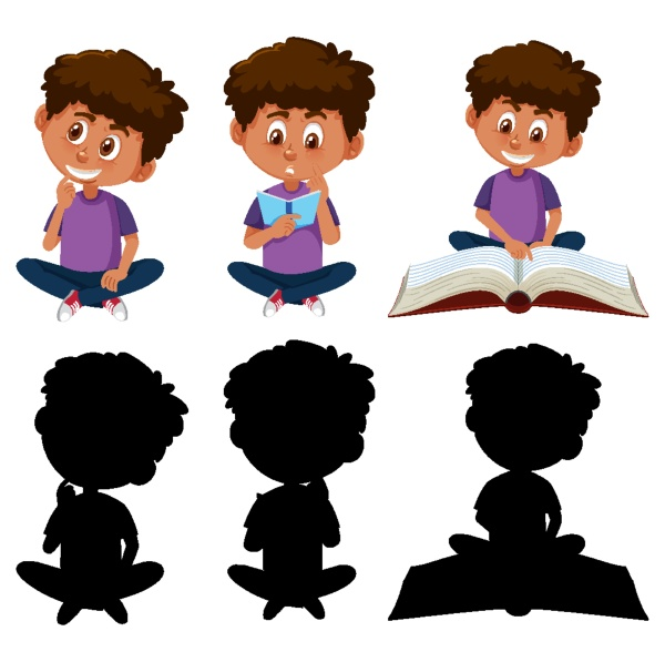 set of a boy cartoon character