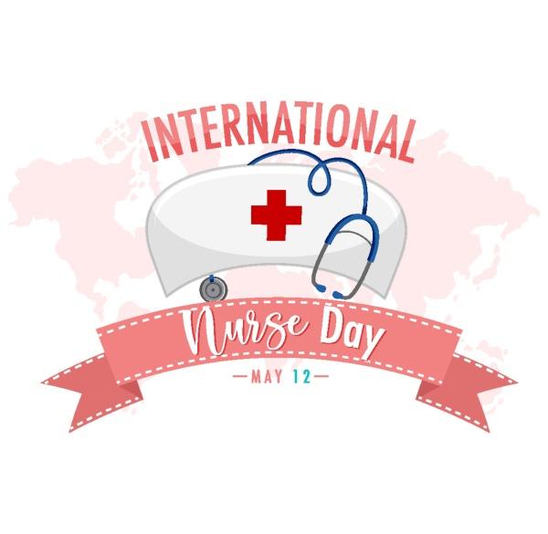 international nurse day logo with nurses