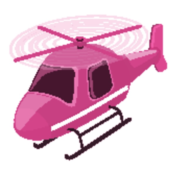 isolated helicopter in pink color