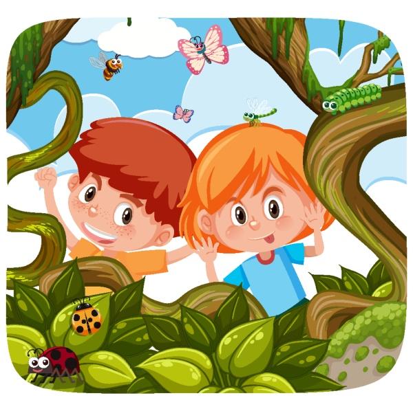 cute kids exploring the nature